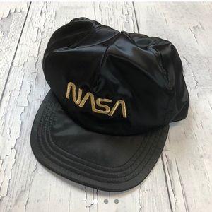 Vintage NASA SnapBack black gold spellout 80's